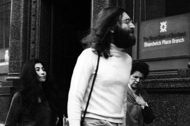 John Lennon and Yoko Ono in Shandwick Place in Edinburgh, 1969.