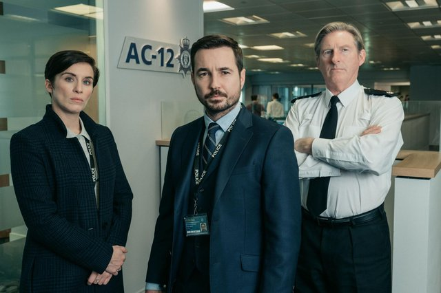 Martin Compston, centre, with Line Of Duty co-stars Vicky McClure  and Adrian Dunbar (Pic: Aiden Monaghan/World Productions/BBC/PA Wire)