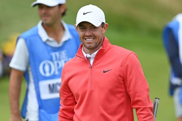 Rory McIlroy smiles during a practice round at Royal St George's ahead of the 149th Open. Picture: Glyn Kirk/AFP via Getty Images.