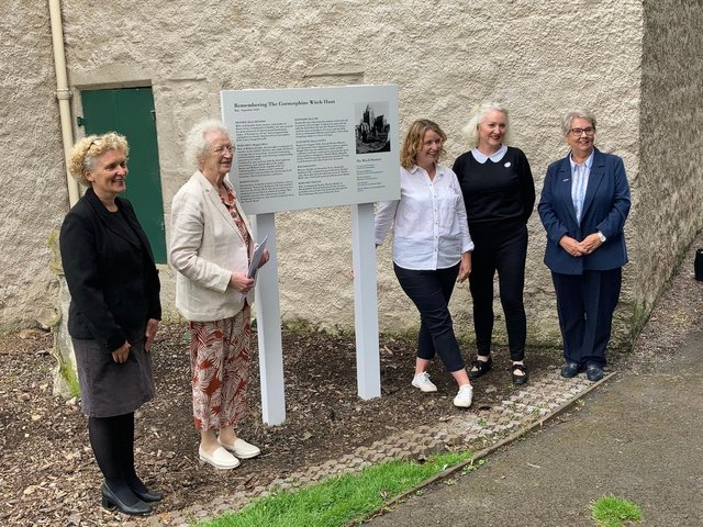 The plaque remembering the Corstorphine witches has been erected outside Dower House in Edinburgh.