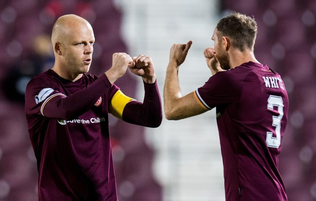 Hearts captain Steven Naismith with defender Aidy White.