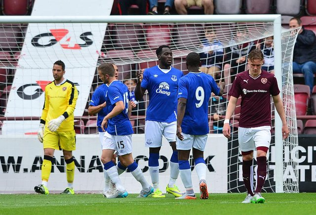 Romelu Lukakau celebrates completing his hat-trick at Tynecastle. Picture: Getty