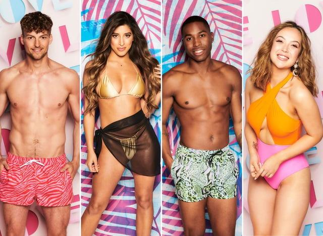 Love Island cast (L-R) Hugo Hammond, Shannon Singh, Aaron Franics, Sharon Gaffka (ITV)