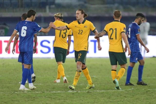 Australia's midfielder Jackson Irvine. (Photo by YASSER AL-ZAYYAT/AFP via Getty Images)