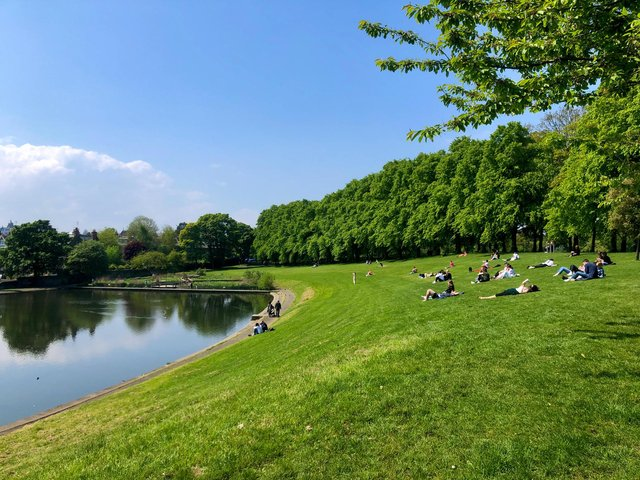Inverleith Park in Edinburgh was a busy spot for sunbathers and those enjoying out the warmer weather in the city.