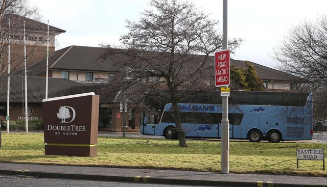 The DoubleTree by Hilton Hotel Edinburgh Airport which is being used to quarantine passengers as travellers flying directly into Scotland on international flights have to self-isolate for 10 days in a quarantine hotel room. Picture date: Monday February 15, 2021.