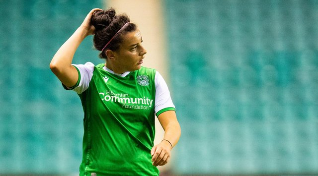 Amy Gallacher was the star of the show for Hibs Women, scoring a hat-trick to down Hearts in a 6-0 win. SNS: Ross MacDonald/SNS