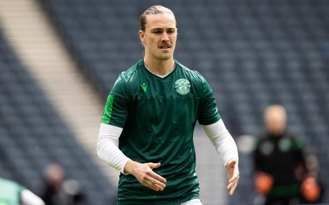 Hibs Jackson Irvine pre-match during the Scottish Cup final match between Hibernian and St Johnstone at Hampden Park, on May 22, 2021, in Glasgow, Scotland. (Photo by Alan Harvey / SNS Group)