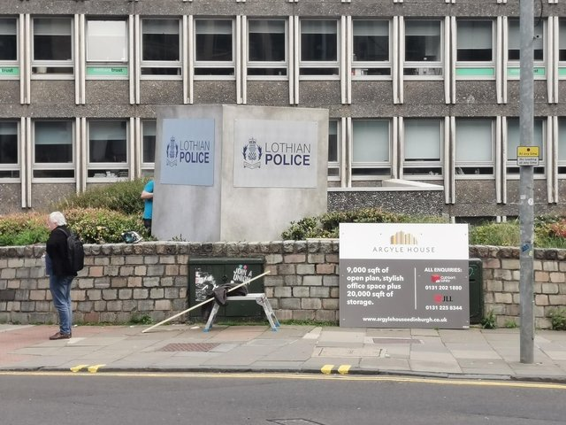 """Locals were puzzled when they spotted """"Lothian"""" Police HQ at Argyle House this weekend"""