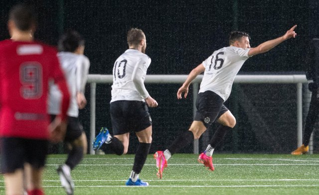 Josh Campbell wheels away after scoring the goal that booked Edinburgh City's place in the play-off final