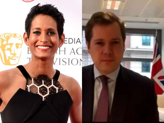 Naga Munchetty and co-host Charlie Stayt commented on the Union flag which appeared behind Robert Jenrick (Getty Images/BBC)