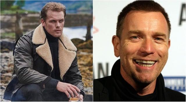 Outlander star Sam Heughan, left, and Trainspotting actor Ewan McGregor, right.