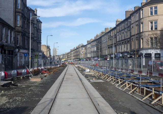 The first tram tracks have been laid on Leith Walk.  This picture is taken from near the Brass Monkey pub.  Pic: Andrew O'Brien