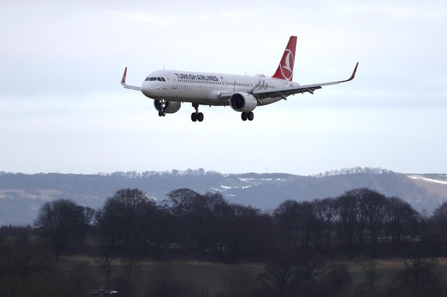 A Turkish Airlines plane arrives at Edinburgh airport. Picture date: Monday February 15, 2021.