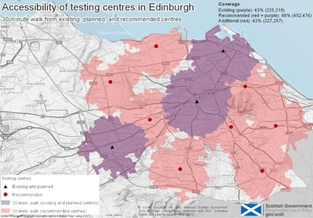 Map showing current and planned Covid testing centres