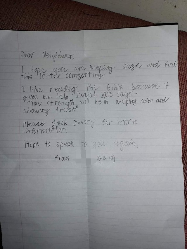 One of the handwritten letters