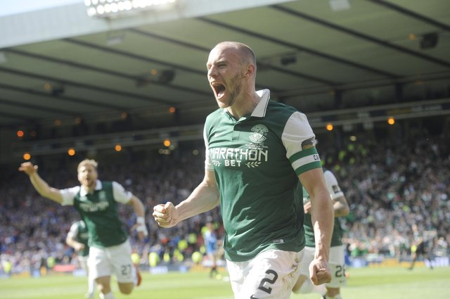 Pic Greg Macvean - Thousands of Hibs fans will miss out on a repeat of David Gray's Hampden heroics