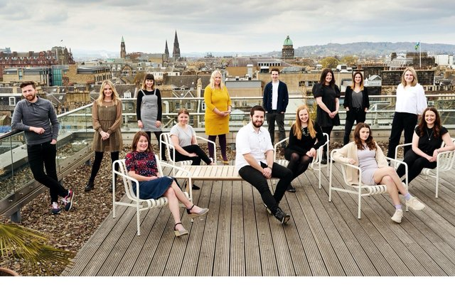 Members of the Muckle Media team pictured against an Edinburgh backdrop.