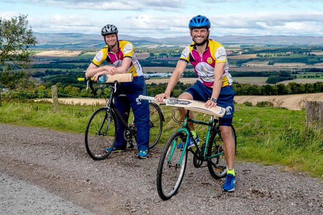 Scotland International Cricketers Craig Wallace and Ali Evans prepare for Cycle4Con