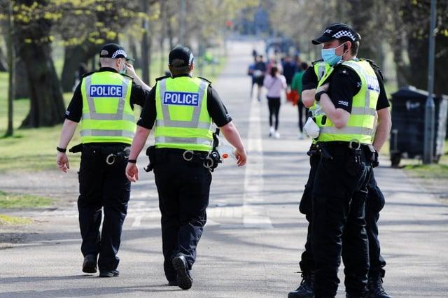 Police patrol in the Meadows, Edinburgh. Pic: Michael Gillen