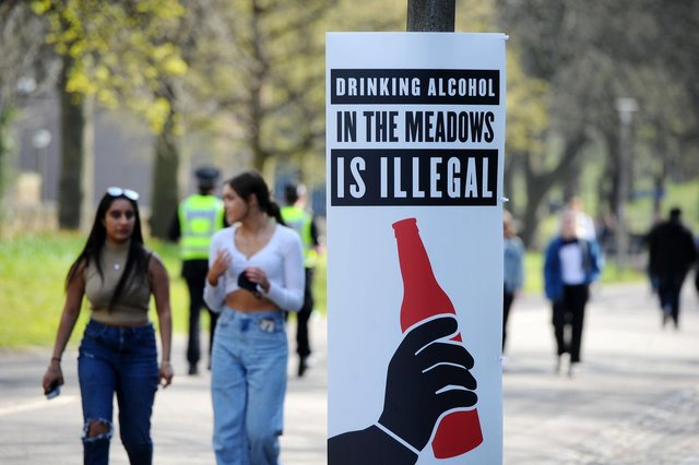 A sign reinforcing the message that alcohol consumption in the Meadows is illegal. Pic: Michael Gillen.