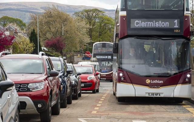 Traffic congestion in Edinburgh on Wednesday. Picture: Lisa Ferguson