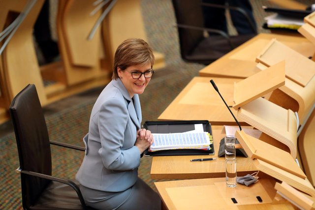 First Minister Nicola Sturgeon during First Minister's Questions at the Scottish Parliament in Holyrood, Edinburgh. Picture date: Thursday June 10, 2021.