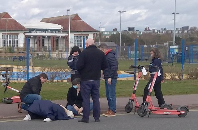 A woman was injured on the first day of an e-scooter rental trial in Portsmouth in March. Picture: John Hargreaves