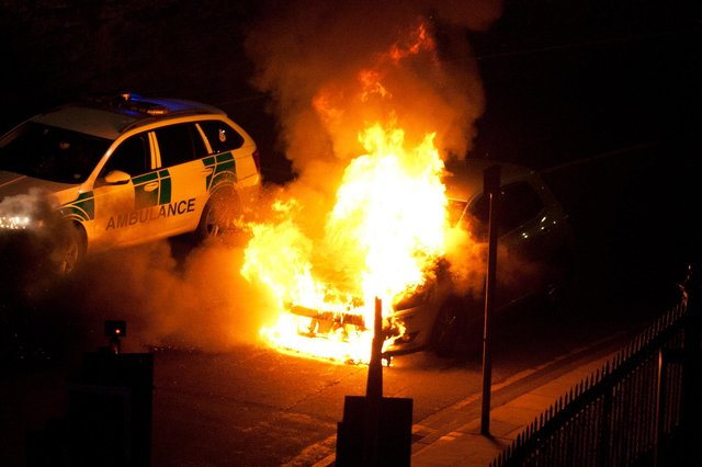 Car seen bursting into flames on Easter Road in Edinburgh picture: Harvey Blackmore
