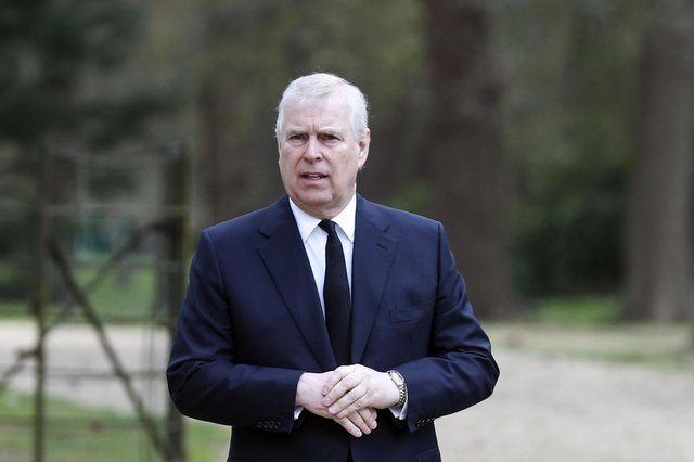 Britain's Prince Andrew attends the Sunday service at the Royal Chapel of All Saints at Royal Lodge, Windsor, following the announcement of Prince Philip's death.