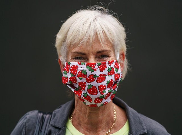 Judy Murray wears a strawberry face mask at Wimbledon 2021. (Photo: Jon Super - Pool/Getty Images)