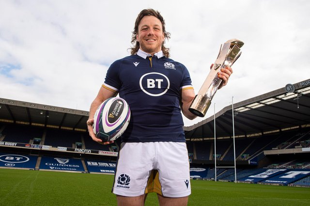 Scotland's Hamish Watson with the Guinness Six Nations Player of the Championship Award at BT Murrayfield. Picture: Ross MacDonald/SNS