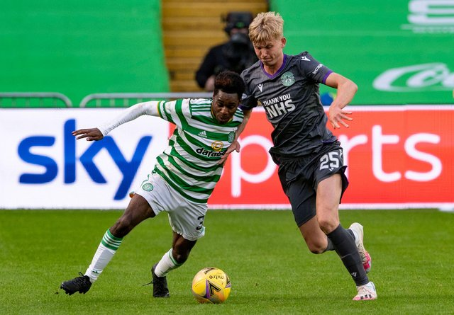 Celtic's Jeremie Frimpong (left) holds off Josh Doig during the 3-0 defeat at Parkhead on Sunday (Photo by Alan Harvey / SNS Group)