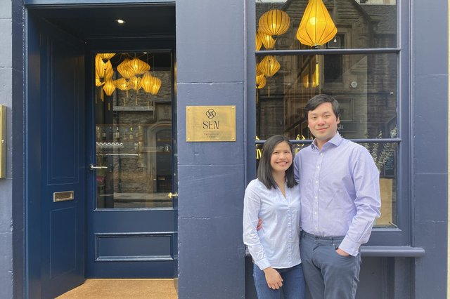 Tam and her husband, Jacky Fung, outside Sen
