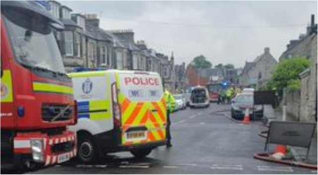 Emergency services were called after an 'explosion' on Dewar Street in Dunfermline on Saturday. Picture: William Scally