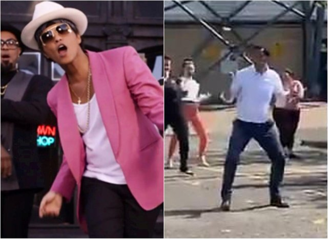 Bruno Mars, left, and Anas Sarwar, right.