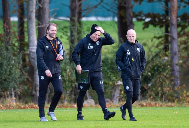 Hearts manager Robbie Neilson (left) with assistants Lee McCulloch (centre) and Gordon Forrest.