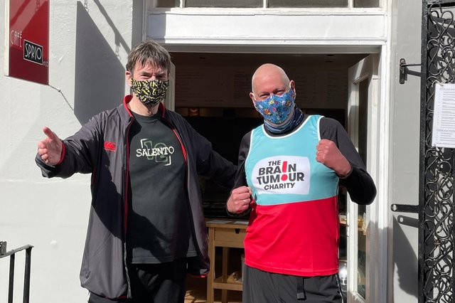 Simon Williams with Ian Rankin having just completed the Meadows virtual 10k.