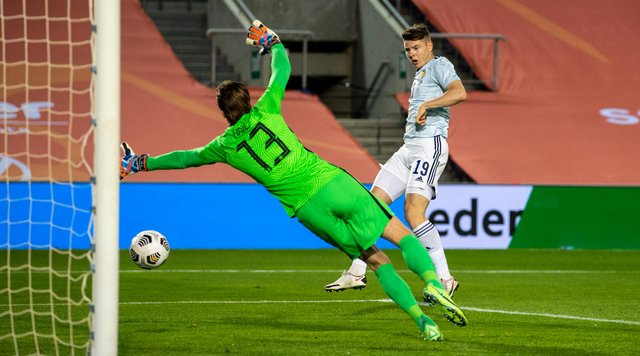 Kevin Nisbet scored his first international goal for Scotland in the recent 2-2 friendly draw with the Netherlands. Picture: SNS