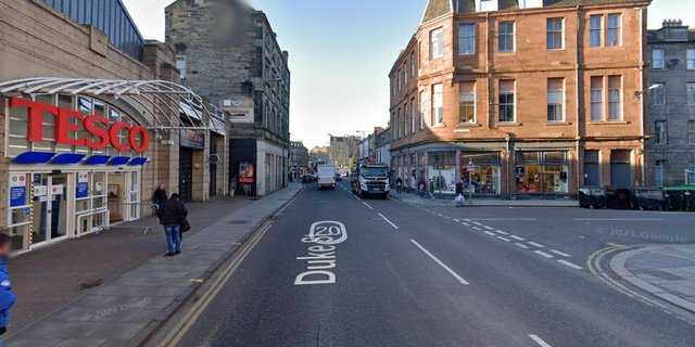 A 76-year-old man has been taken to hospital after being struck by a car on Duke Street.