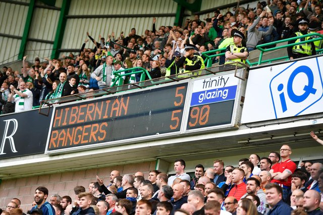 Hibs went head to head with Rangers on the final day of the 2017/18 season. The draw meant the Easter Road side had to sette for fourth place. Photo by Rob Casey/SNS Group