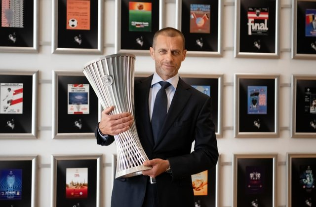 UEFA president Aleksander Čeferin with the Europa Conference League trophy