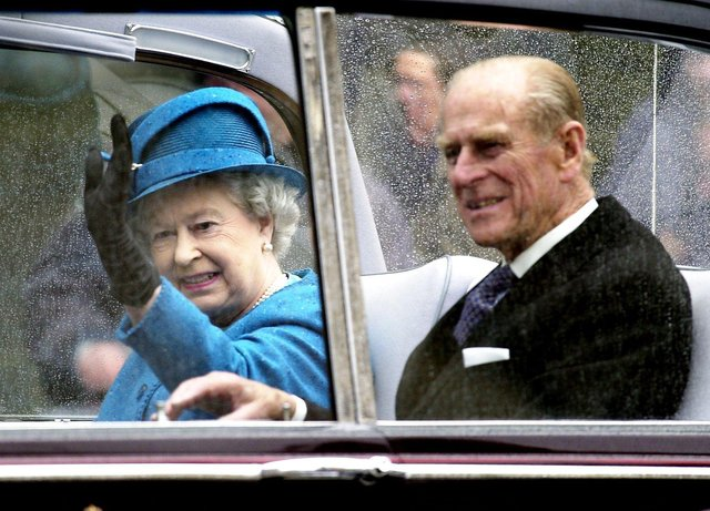 The Queen and Prince Philip after attending a service at St Giles' Cathedral in 2002