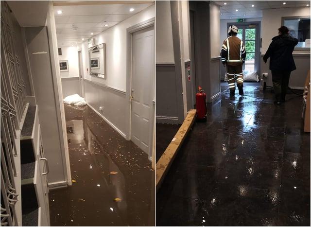 Some of the flood damage inside.