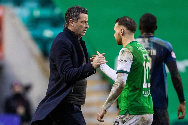 Hibs manager Jack Ross (left) has defended Martin Boyle against accusations of cheating. Photo by Craig Williamson / SNS Group