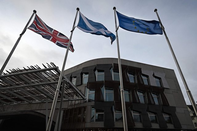 Flags outside the Scottish Parliament at Holyrood