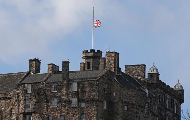 The Union flag flies at half mast over Edinburgh Castle after the announcement of the death of the Duke of Edinburgh.