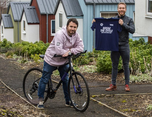 On Wednesday Sir Chris Hoy visited Social Bite's first village in Granton, Edinburgh, with the charity's founder Josh Littlejohn, to launch the Break the Cycle campaign and meet the people who run the village day to day.