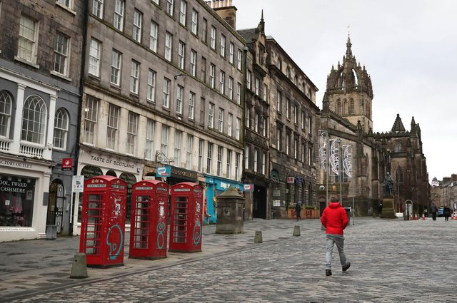 The Royal Mile in Edinburgh, the morning after stricter lockdown measures came into force for mainland Scotland in January. Picture: PA