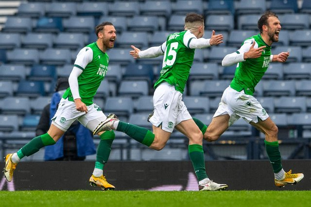 Hibs' trio Martin Boyle, Kevin Nisbet and Christian Doidge were in devastating form once again as the Leith side moved into the Scottish Cup final. Photo by Ross Parker / SNS Group